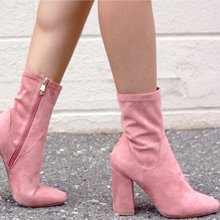 Pink Suede Sock Boots - Quartz & Leisure