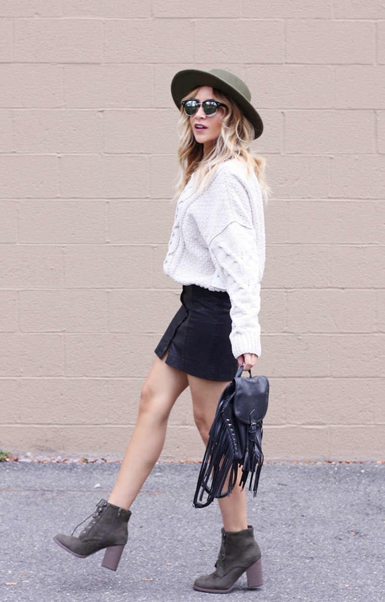 Chunky Knit and Leather Skirt