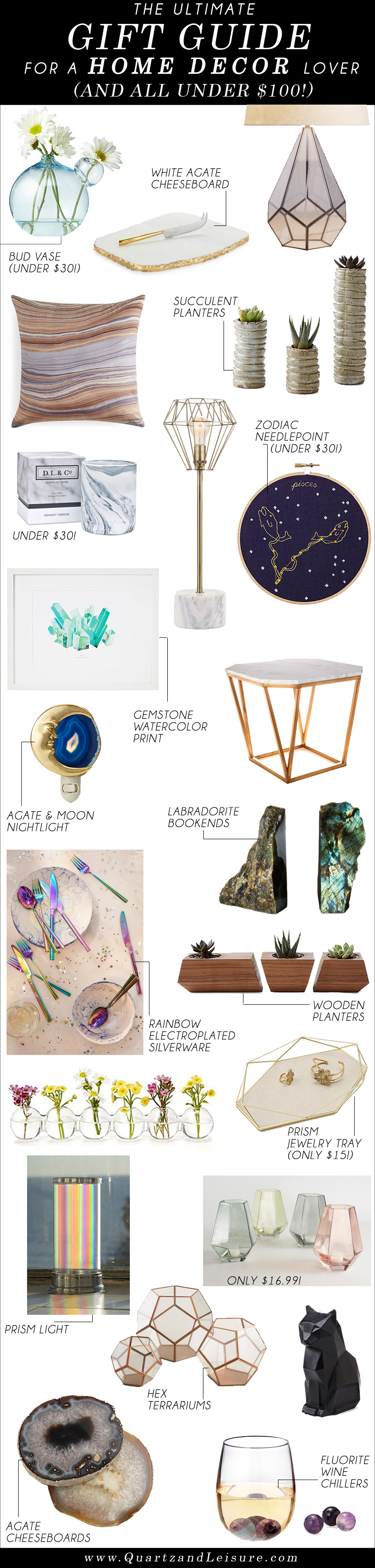 Home Decor Gift Guide -Quartz & Leisure