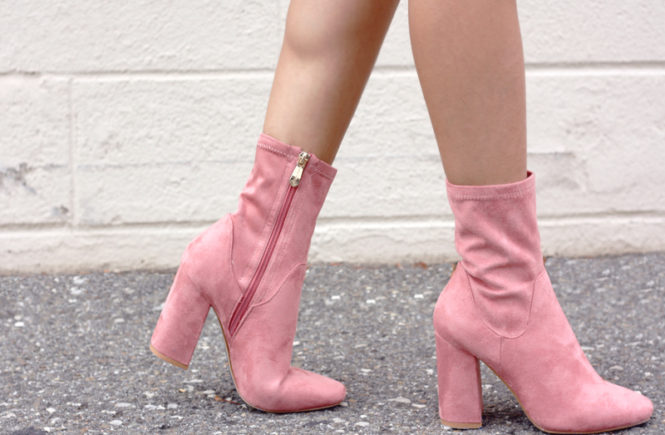 Pink Suede Sock Boots