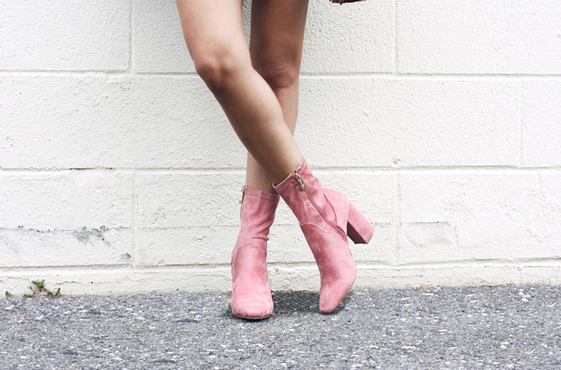 Pink Suede Ankle Booties