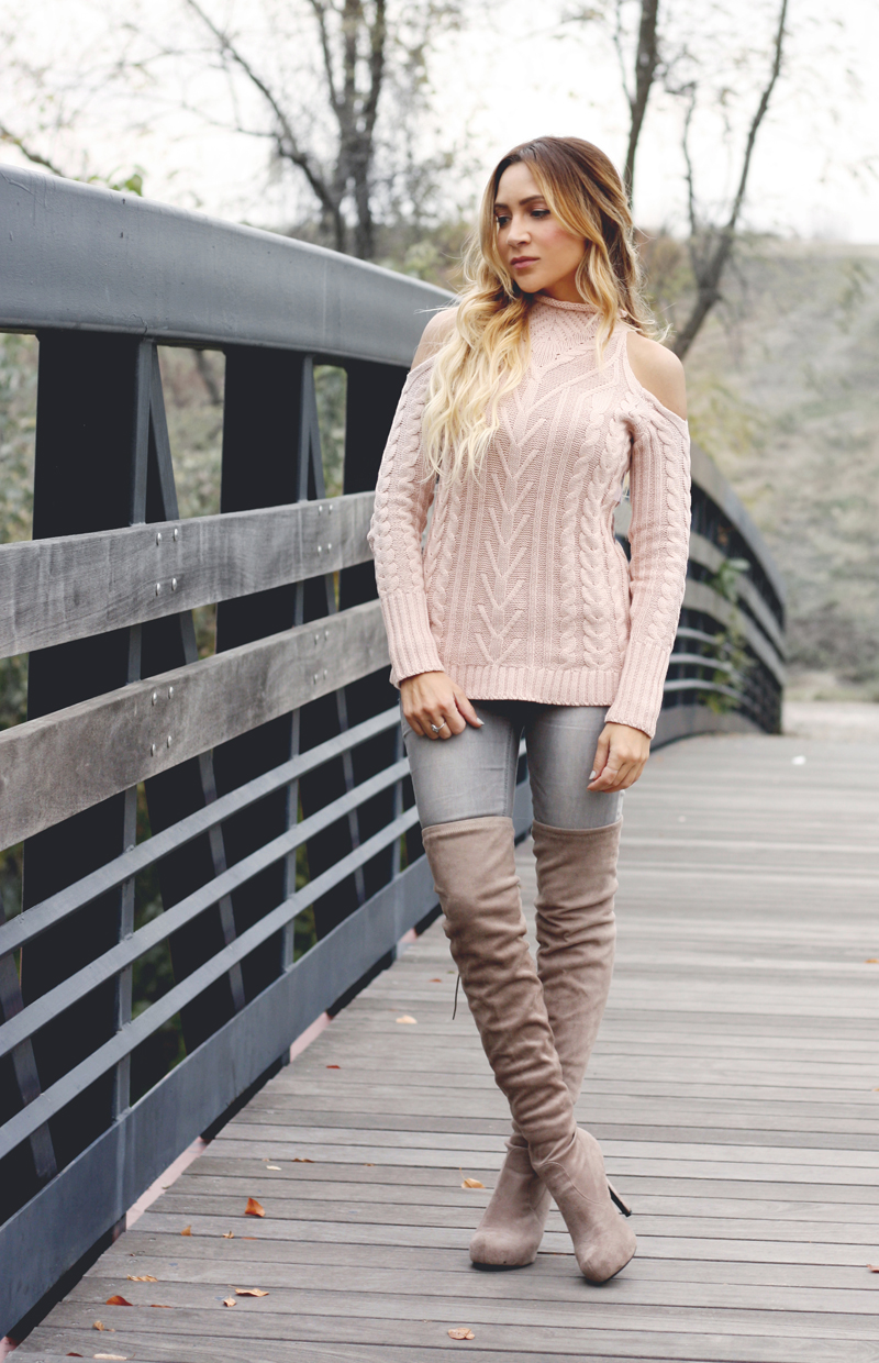 Pink Cold Shoulder Sweater-Quartz & Leisure