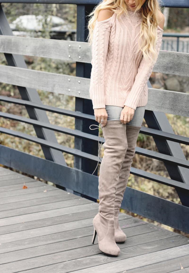 Pink Cold Shoulder Sweater-Quartz & Leisure