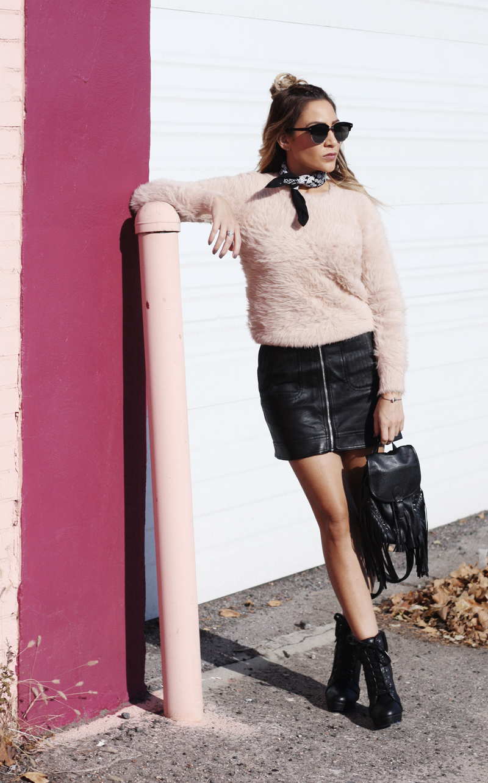 Pink Eyelash Sweater & Leather Skirt - Quartz & Leisure