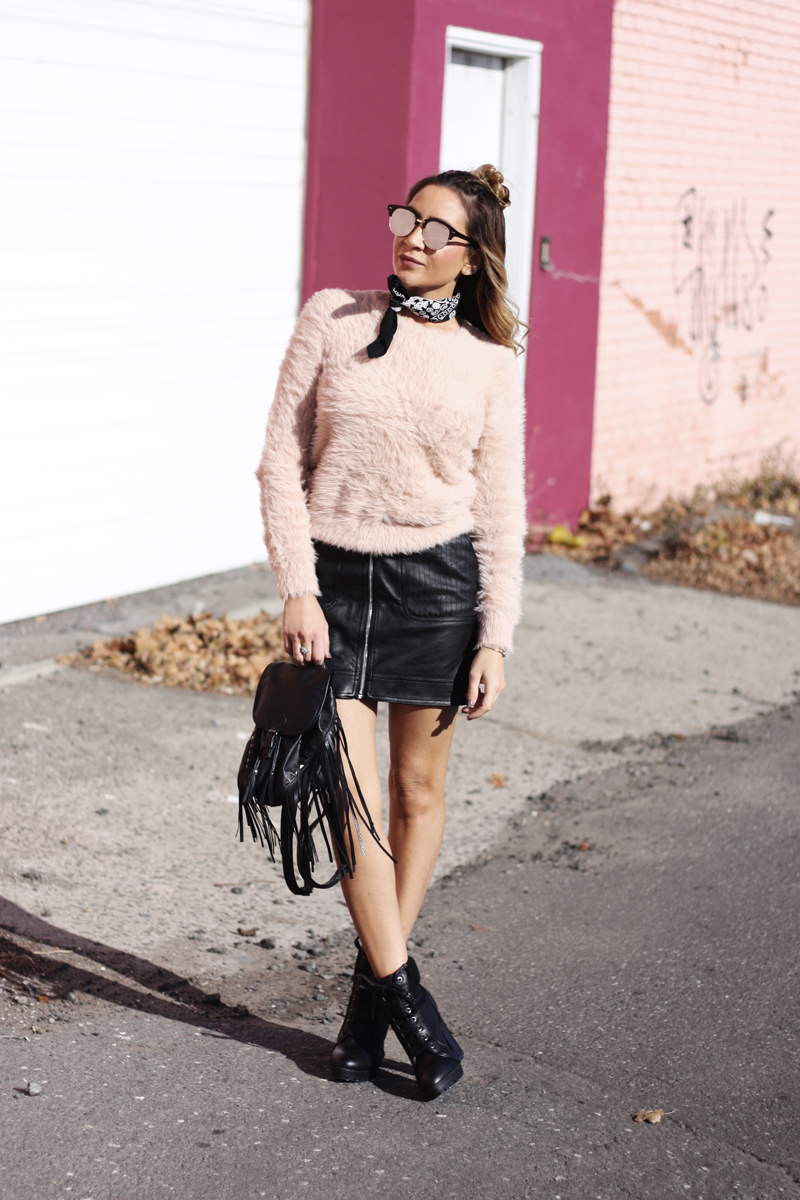 Pink Eyelash Sweater & Leather Skirt - Quartz & Leisure