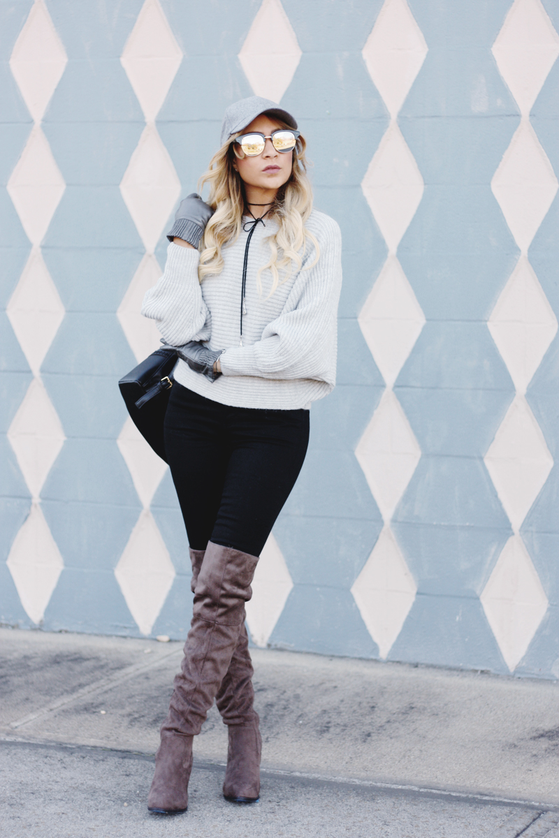 Grey Dolman Sleeve Sweater - Quartz & Leisure