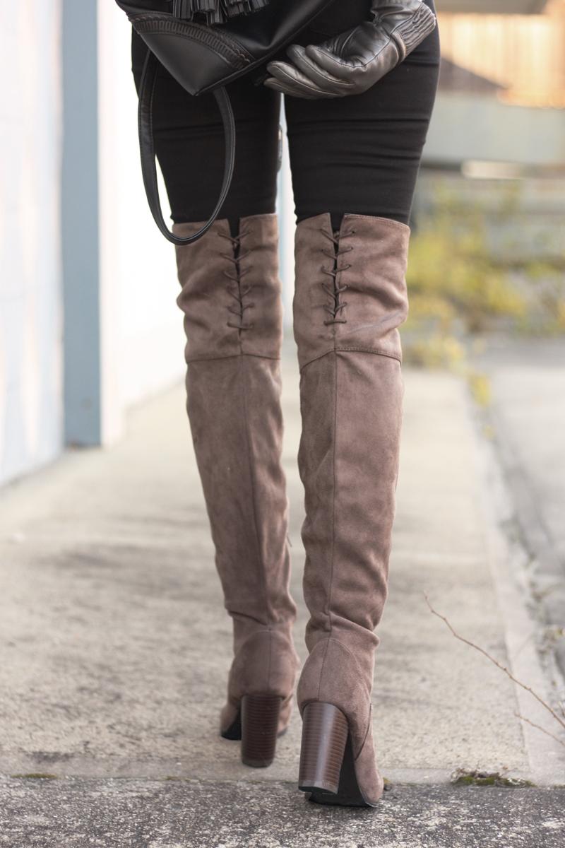 Taupe OTK Boots - Quartz & Leisure