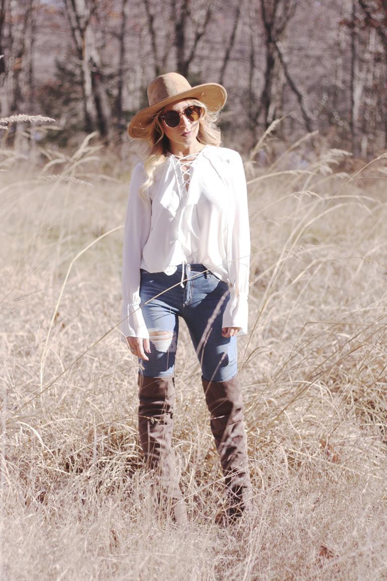 White Lace Up Blouse - Quartz & Leisure