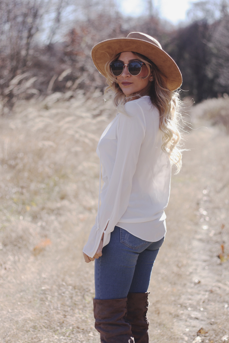 White Lace Up Blouse - Quartz & Leisure