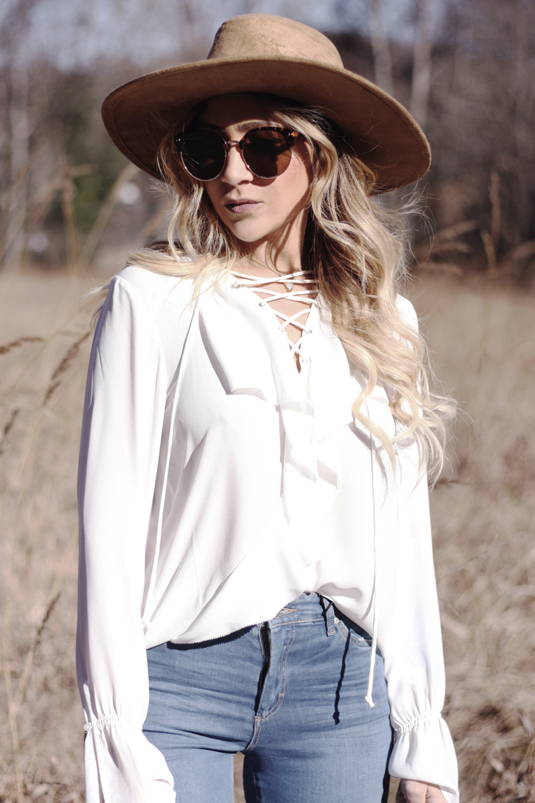 White Lace Up Ruffle Blouse - Quartz & Leisure