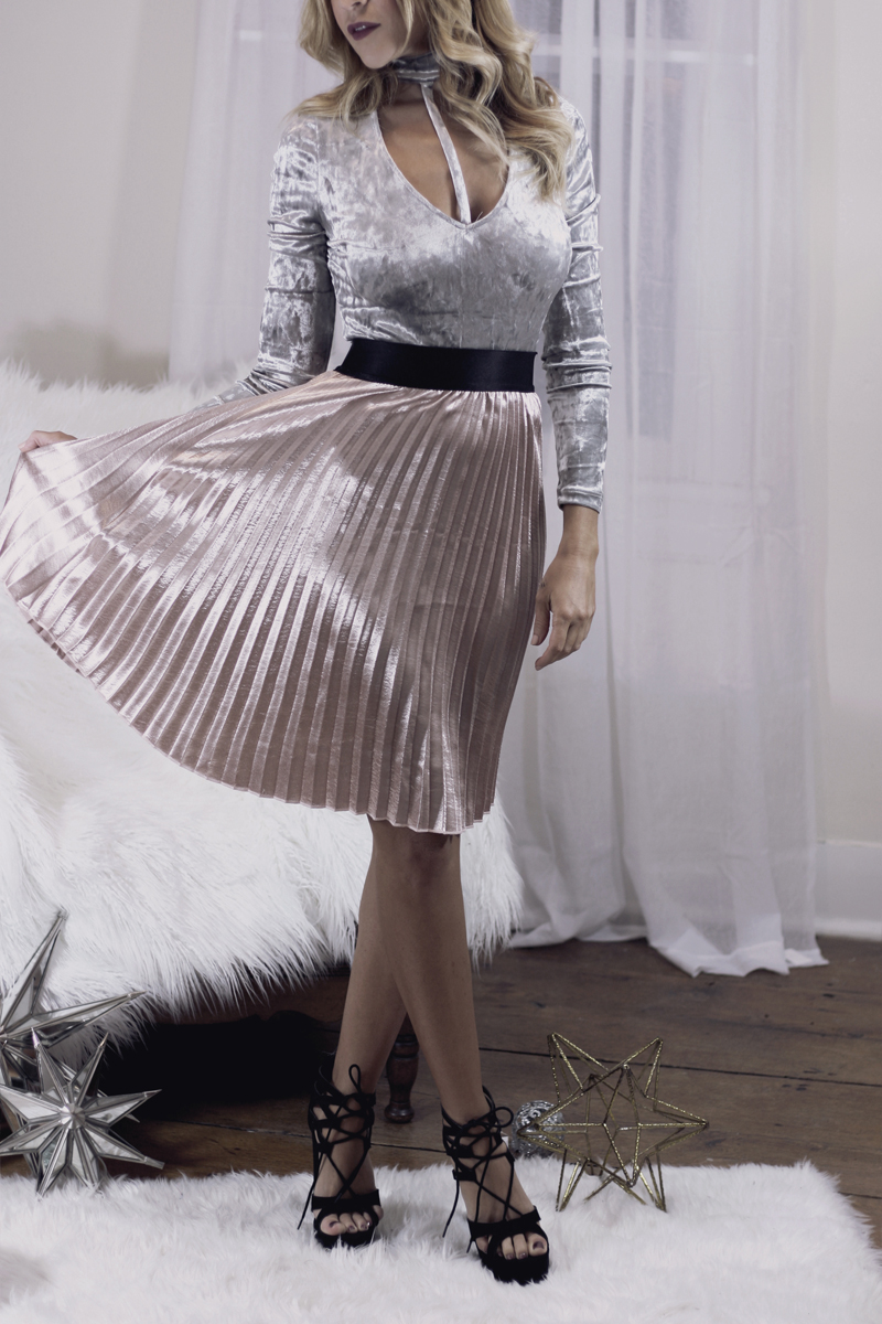 Velvet Bodysuit & Satin Accordion Skirt - Quartz & Leisure