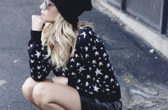 Star Sweater & Patent Leather Skirt - Quartz & Leisure