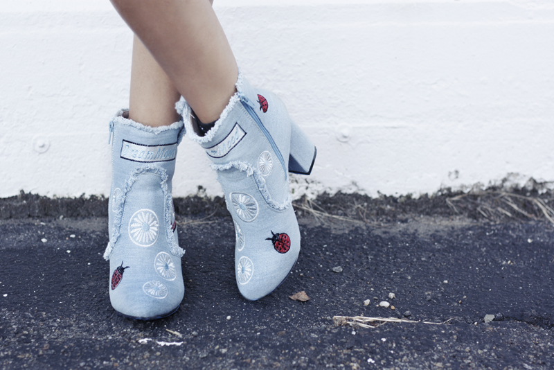 Patent Leather Skirt & Denim Patch Ankle Booties - Quartz & Leisure