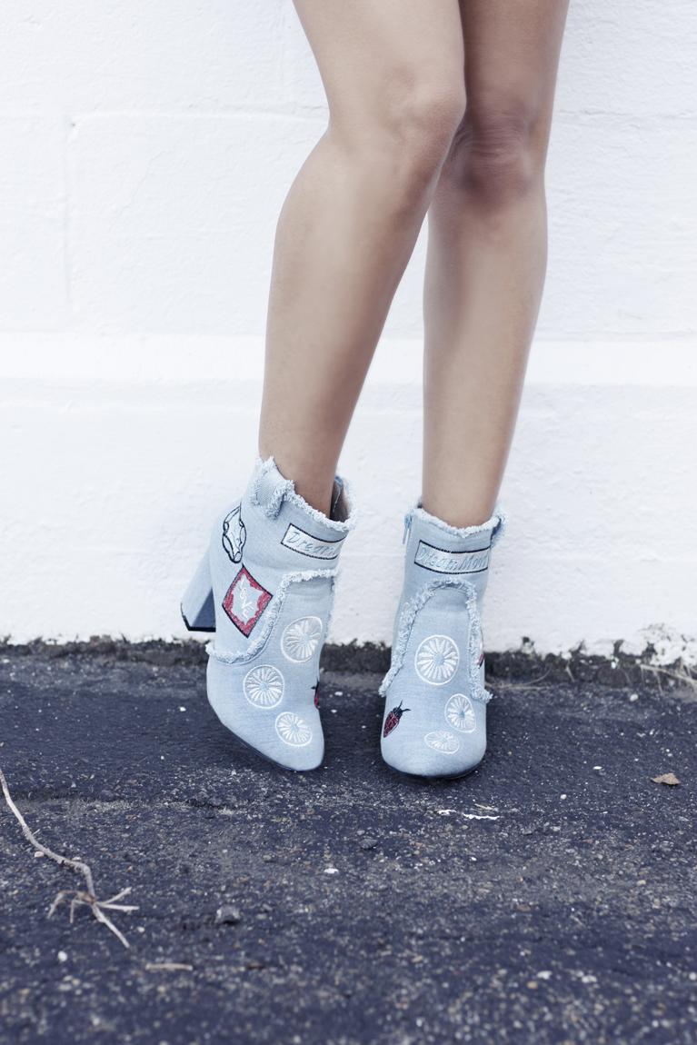 Patent Leather Skirt & Denim Patch Ankle Booties - Quartz & Leisure