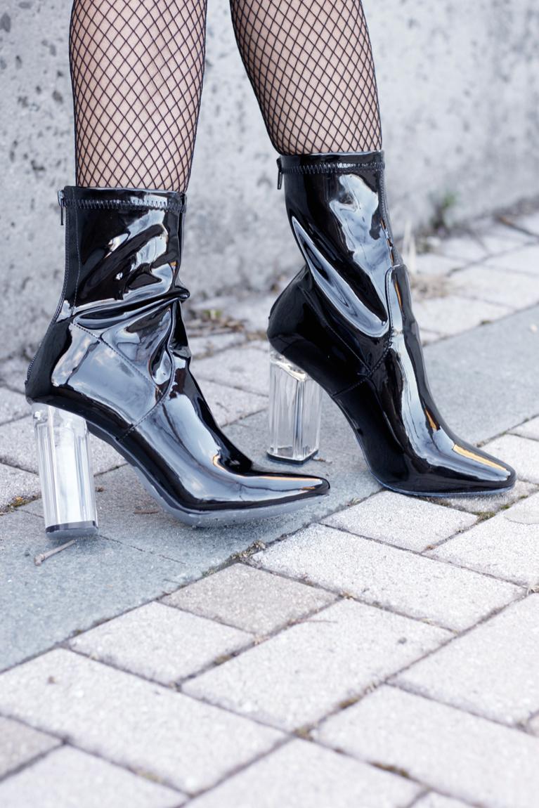 Patent Leather Lucite Heels - Quartz & Leisure