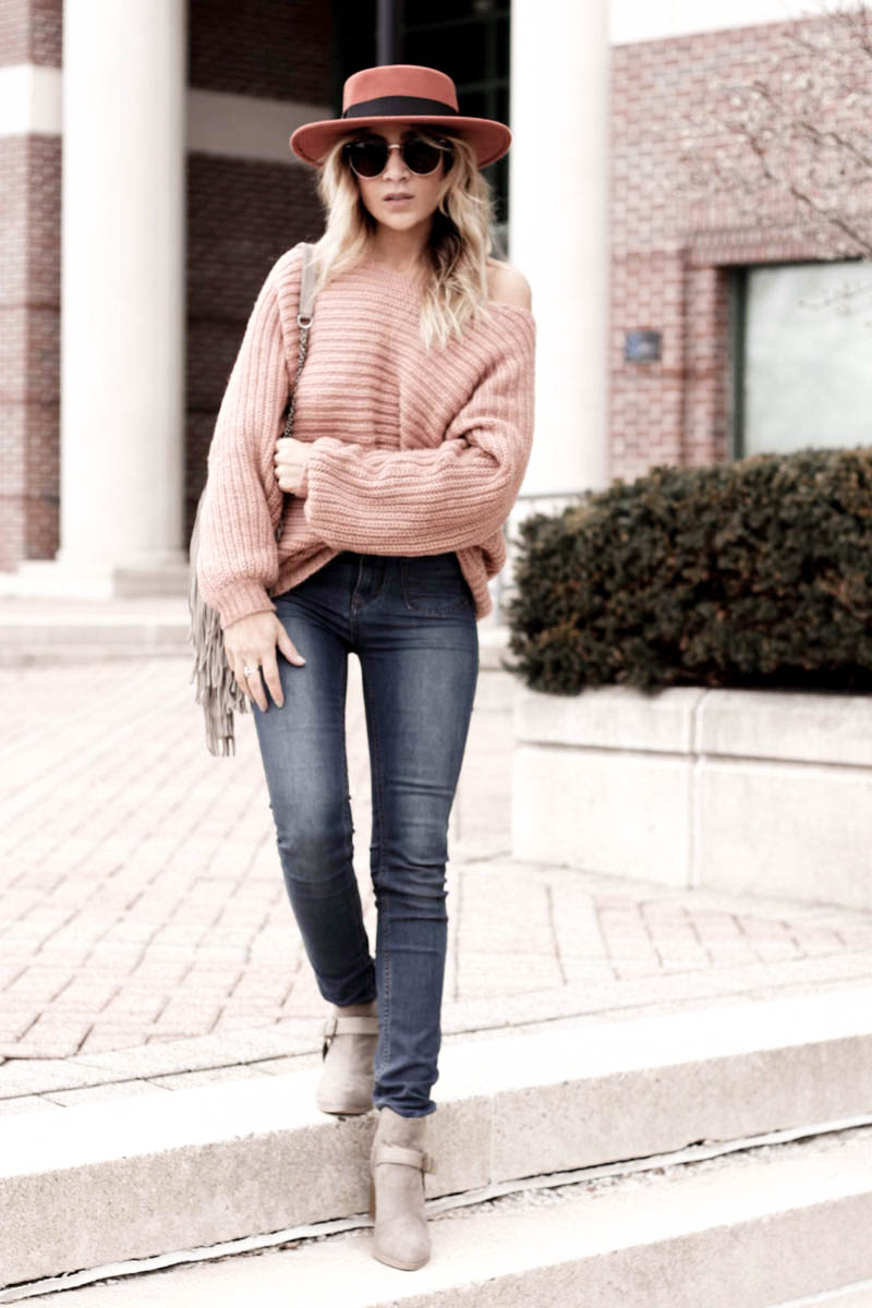 Dusty Pink Backless Sweater - Quartz & Leisure
