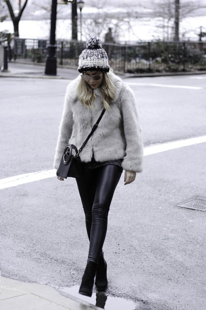 Grey Faux Fur Coat - Quartz & Leisure