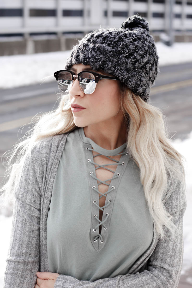Tee shirt dress and duster sweater with beanie hat