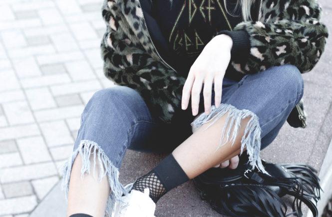 Green Leopard & Fringe Hem Jeans - Quartz & Leisure