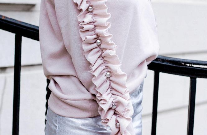 Pink Ruffle Sleeve Sweater - Quartz & Leisure