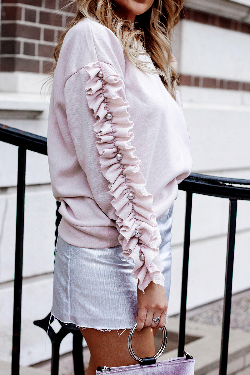Pink Ruffle Sleeve Sweater - Quartz & Leisure