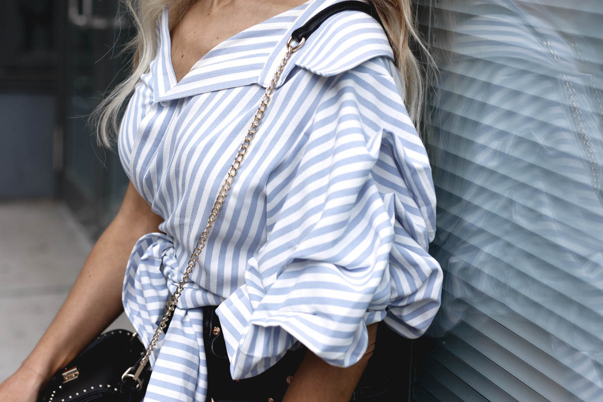 One Shoulder Pinstripe Wrap Blouse - Quartz & Leisure