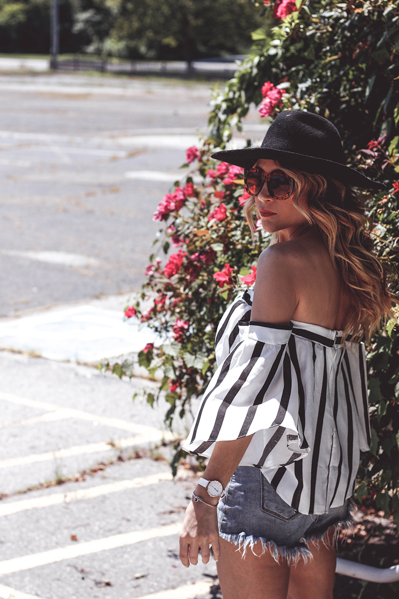 Striped Off Shoulder Top & Cutoffs