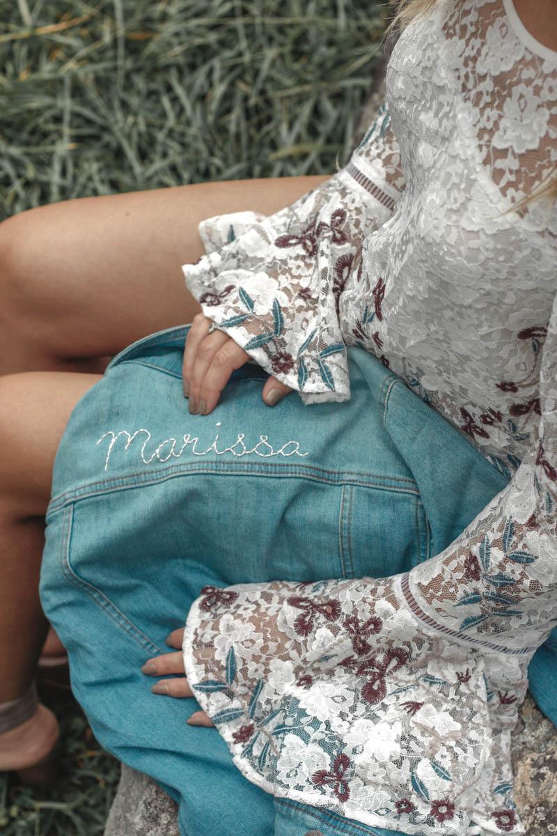 Willow & Clay Cold Shoulder Bell Sleeve Top / Wrangler Denim Jacket