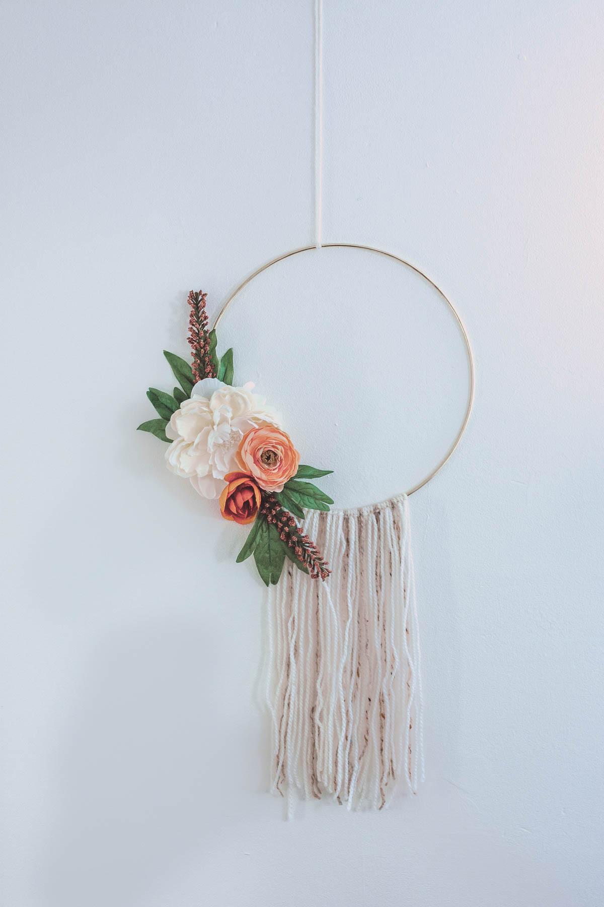 Modern Fall Wreath - Floral Hoop Wreath