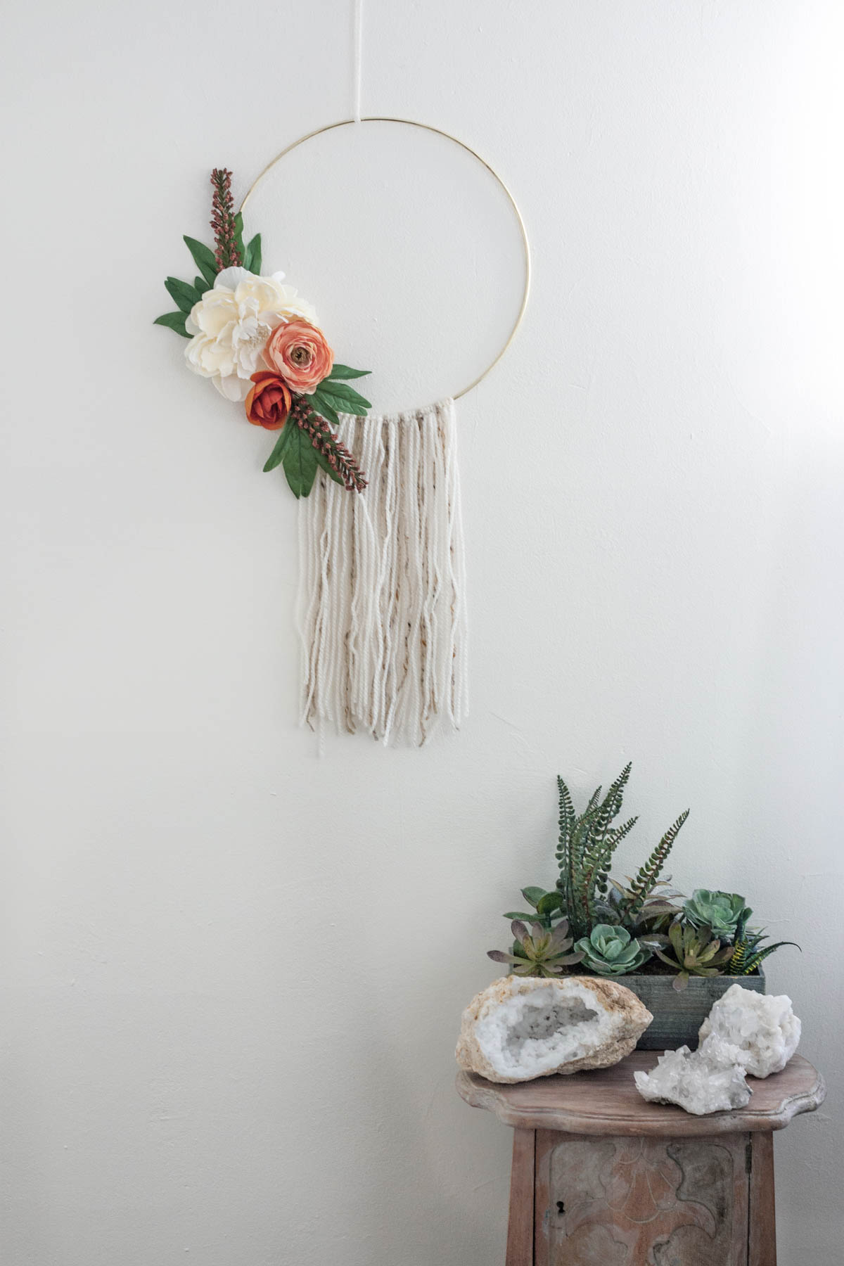 Modern Fall Wreath - Floral Hoop Wreath