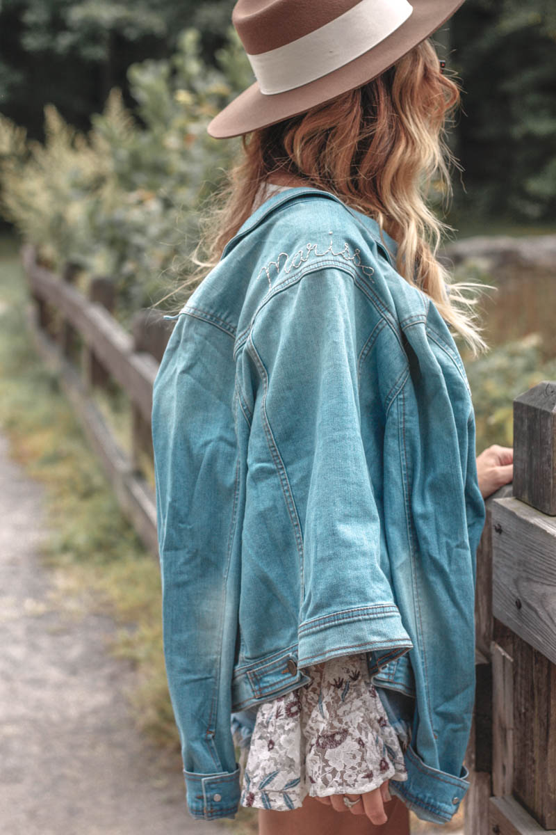 Willow & Clay Cold Shoulder Bell Sleeve Top / Wrangler Denim Jacket
