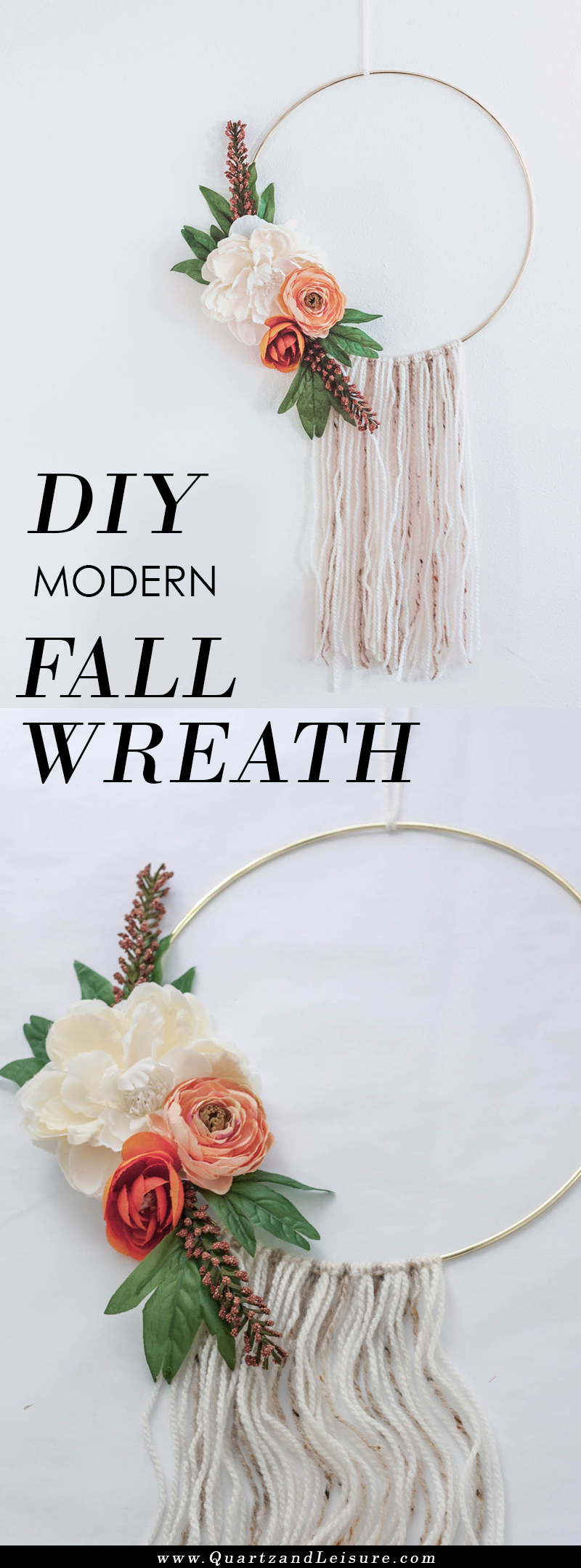 Modern Fall Hoop Wreath - Floral Hoop Wreath