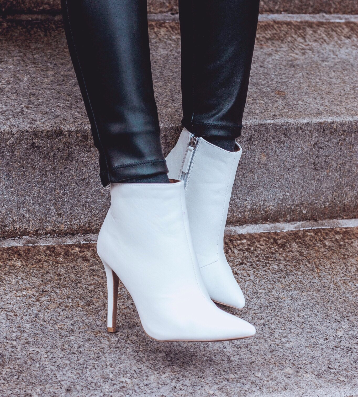 White ankle booties, white ankle boots, Free People Vegan leather legging