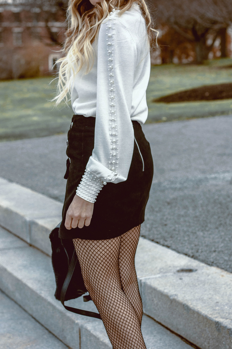 H&M Pearl sweater, lace up skirt, white booties