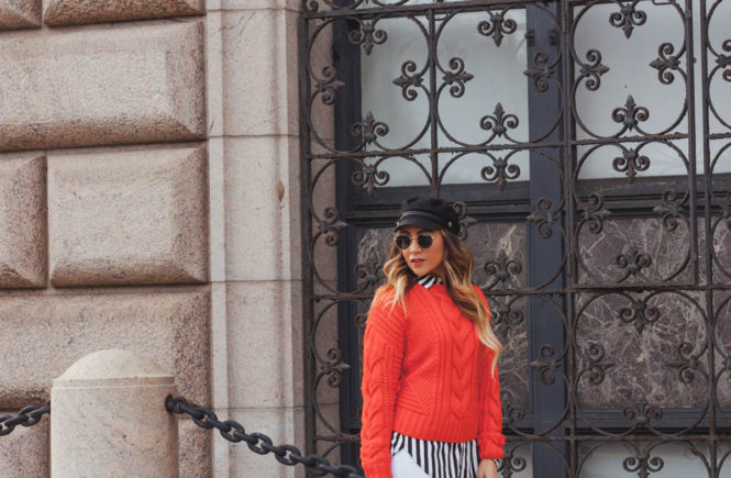 red H&M sweater, white Cello jeans, black and white striped shirt.jpg