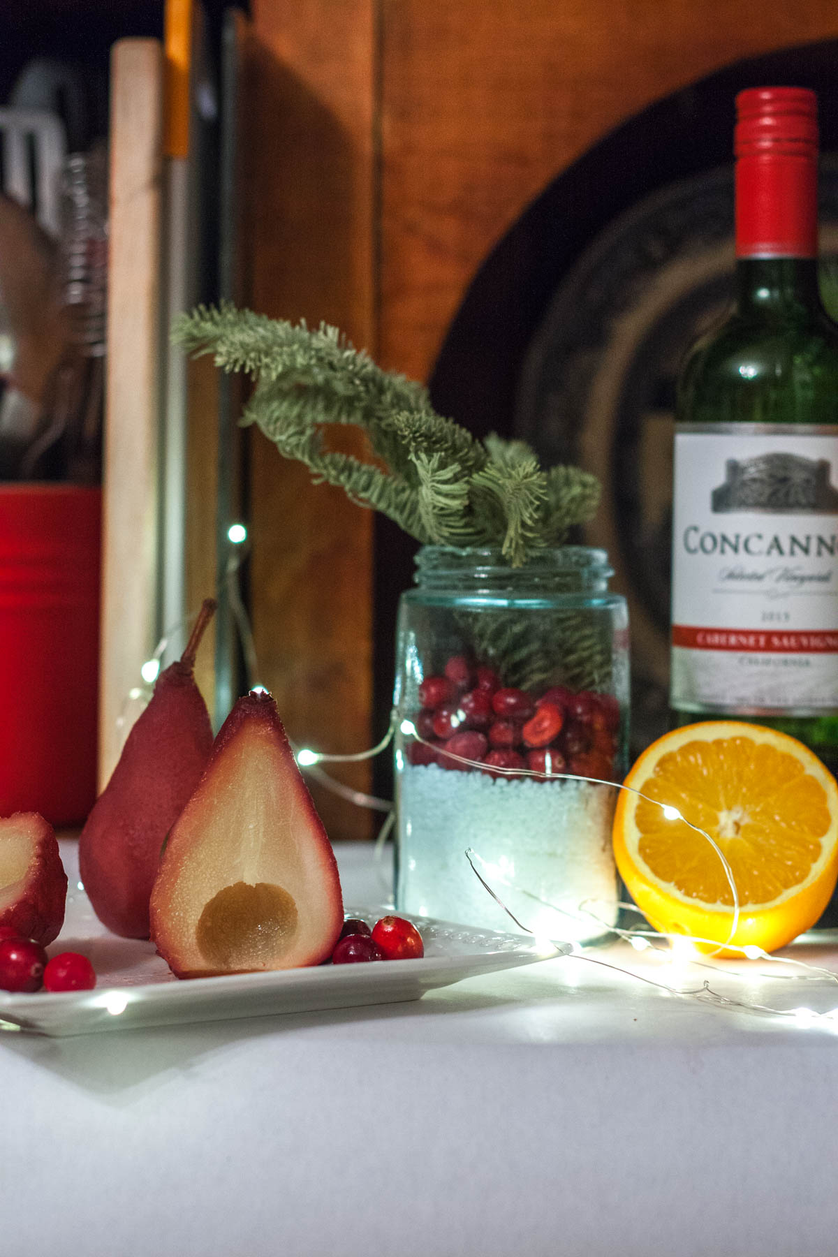 Cranberry Cabernet Poached Pears