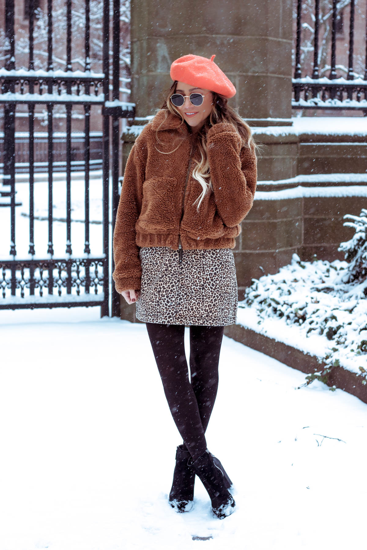 Urban Outfitters Teddy Coat, Leopard Print Skirt, Orange Beret