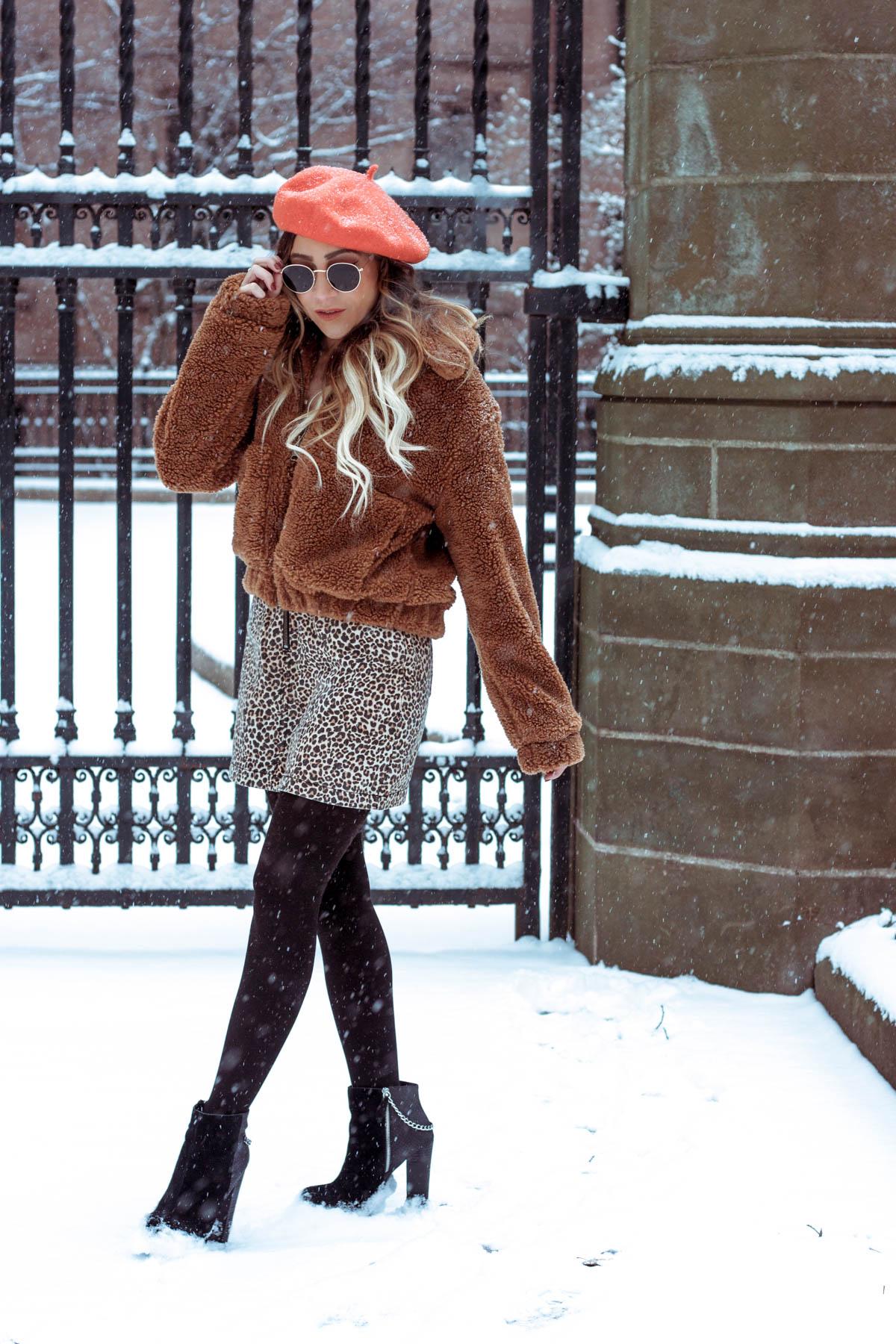 Urban Outfitters Teddy Coat, Leopard Print Skirt, Orange Beret