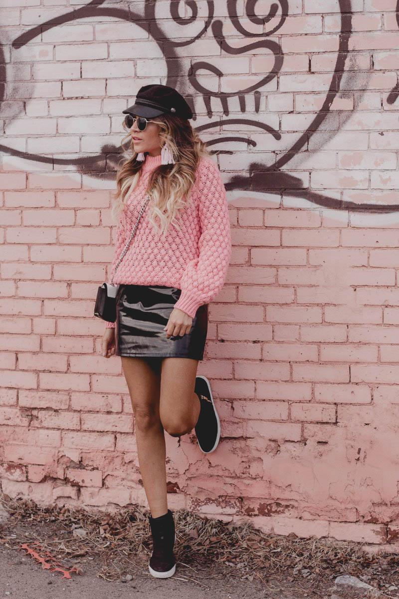 Pink H&M sweater, baublebar pink tassel earrings, Kenneth Cole Kiera sneaker