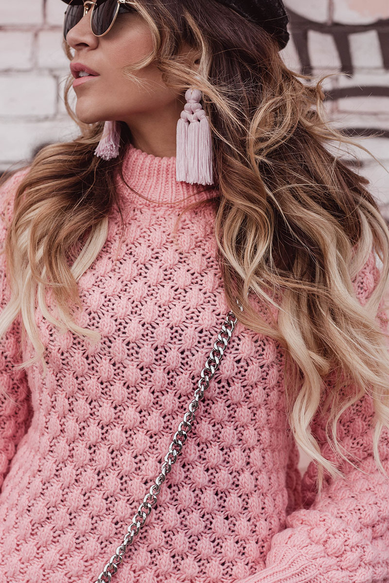 H&M pink knit sweater, baublebar pink tassel earrings