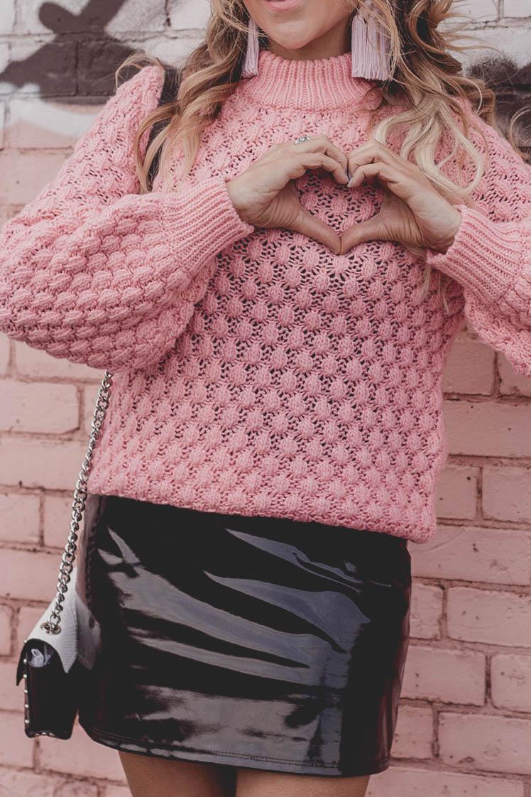 H&M Pink sweater, baublebar pink tassel earrings