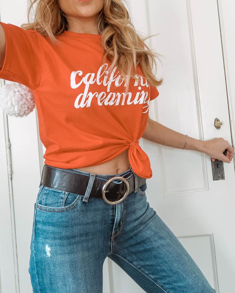 California dreaming tee, Miss Selfridge, Levi's jeans