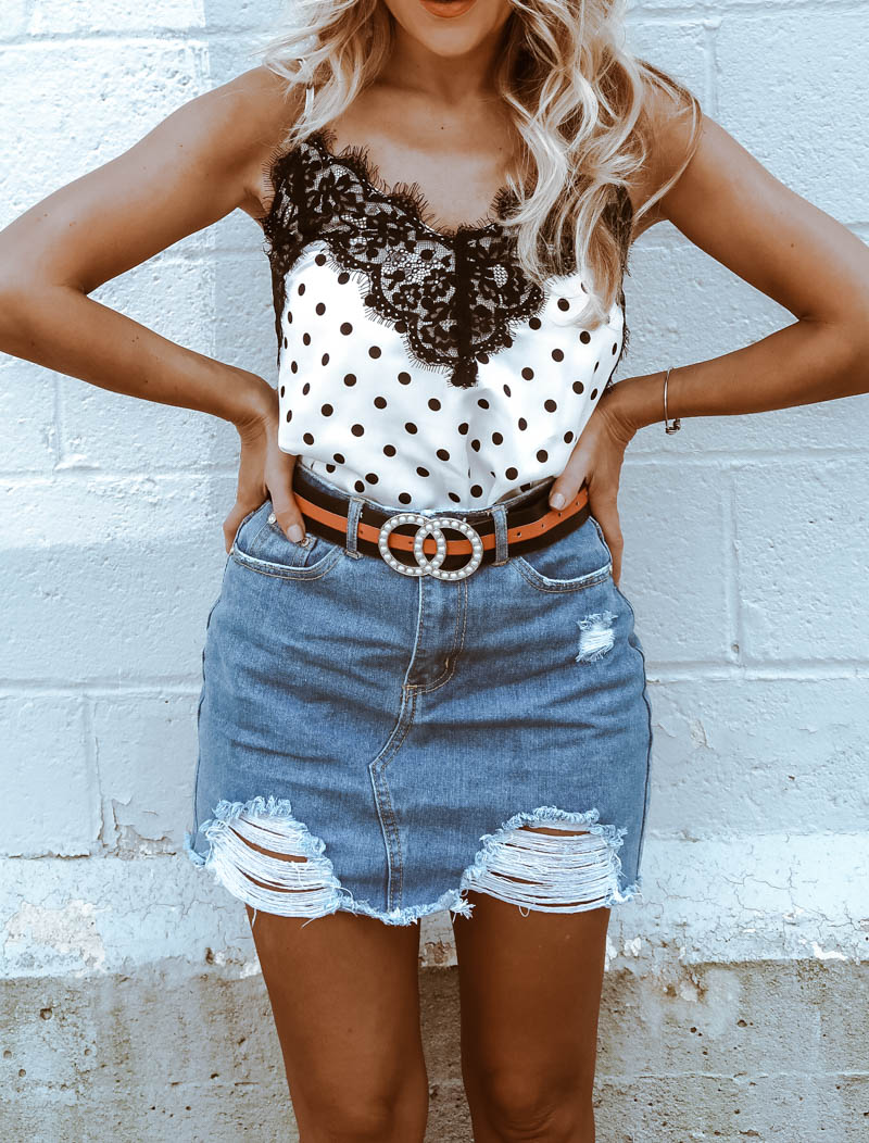 Missguided Polka Dot Cami, Short Denim Skirt